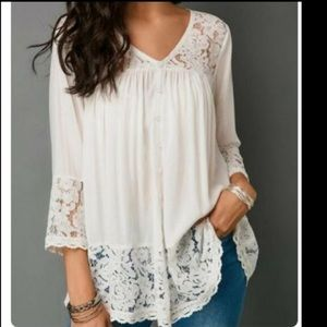 Tops - Boho Flared Sleeve Lacey Top